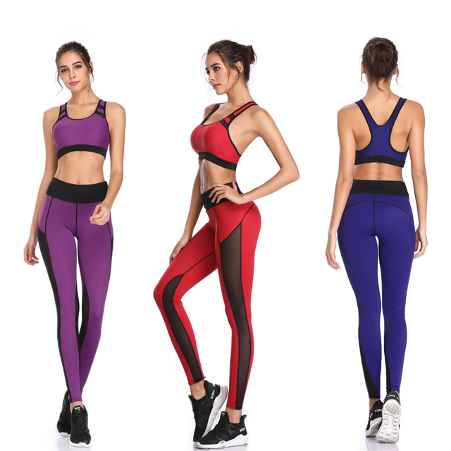 Pants Mesh Patchwork Leggings Sports Vest Running Suits Comfortable Quick Dry Yoga Set Female Gym Wear