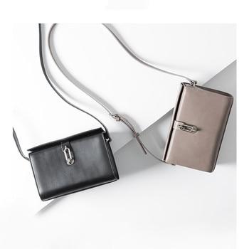 Vento Marea Genuine Leather Crossbody Bag Female Box Black Handbags 2019 Chic Simple Design Lock Women Messenger Bag Gray Purses