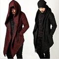 2017 Avant Garde Tops Moda masculina Jaqueta Outwear Capa Cape Casaco Mens Roupas Manto (Preto/Vermelho) M-2XL