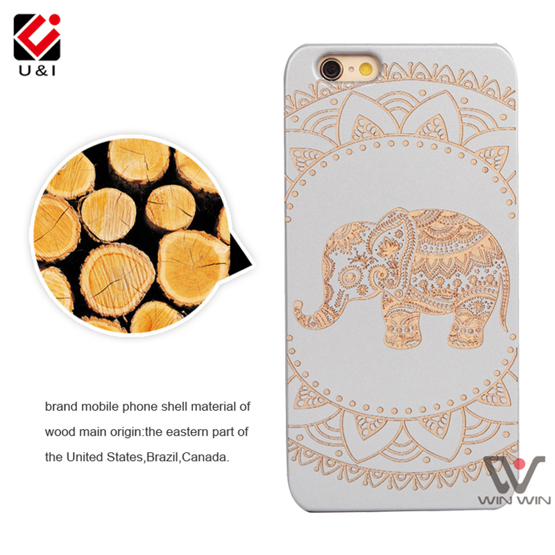 2017 White Elephant Laser U&I Wood Cases Cover for iPhone 8 8plus 5 5S 6 6S 7 7Plus Custom Engrave Cell Phone Back Capa Fundas