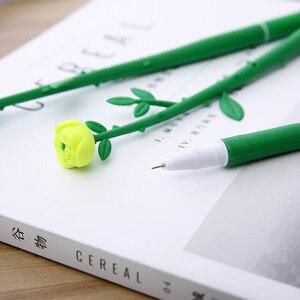 Image 3 - 100 PCS Rosa Stile Penna Regali Creativi per Gli Studenti di Apprendimento di Cancelleria Rosa Fiori Nero Neutro Penna Ufficio Penna allingrosso