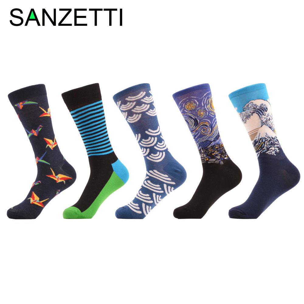 SANZETTI 5 pairs/lot Combed Cotton Colorful Mens Paper Crane Pattern Crew Socks Funny Casual Dress Party Socks for Wedding