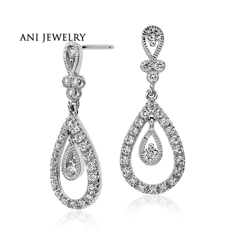 ANI 18k White Gold Women Drop Earrings 0.74 ct Certified I/S1 Real Diamond Drop Shape Dangle Earrings for Women Wedding Jewelry pair of stylish faux turquoise crescent shape drop earrings for women