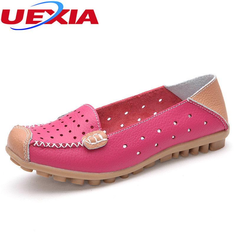 New Anti-collision toe Tide Sweet Single Leather Oxfords Casual Ballet Flats Ladies Hollow Peas Shoes Round Toe Flats Women Shoe