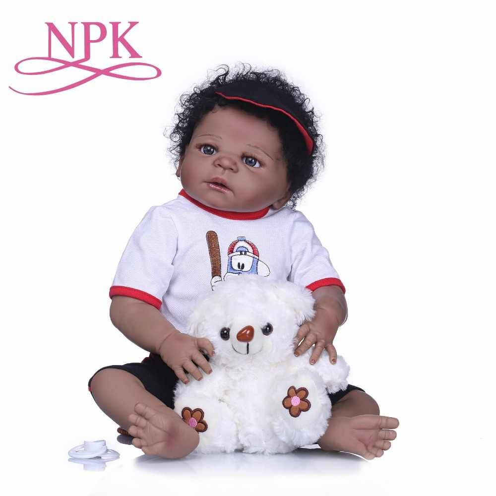 NPK Bebes Reborn Dolls Realistic Full Silicone Baby Boy Doll In Cute Hair Style Reborn Alive Baby Dolls Girls Playmate Toys