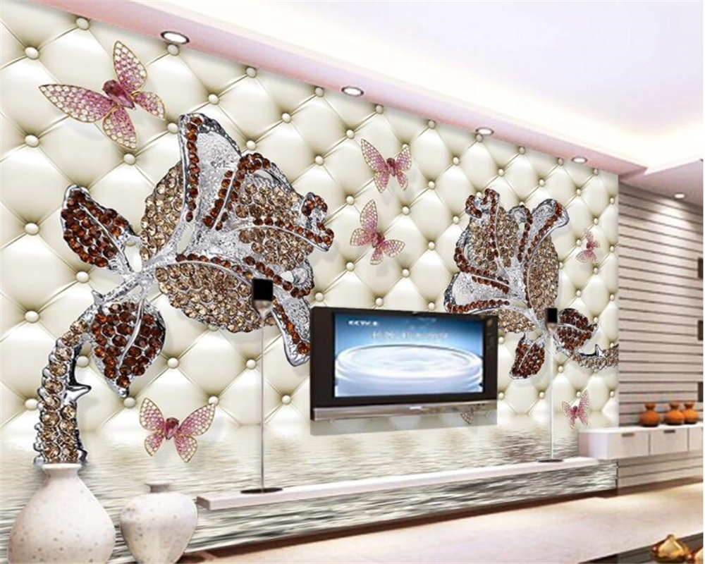 Photo wallpaper European style silk material with diamond rose water reflection jewelry wall background 3d wallpaper beibehang