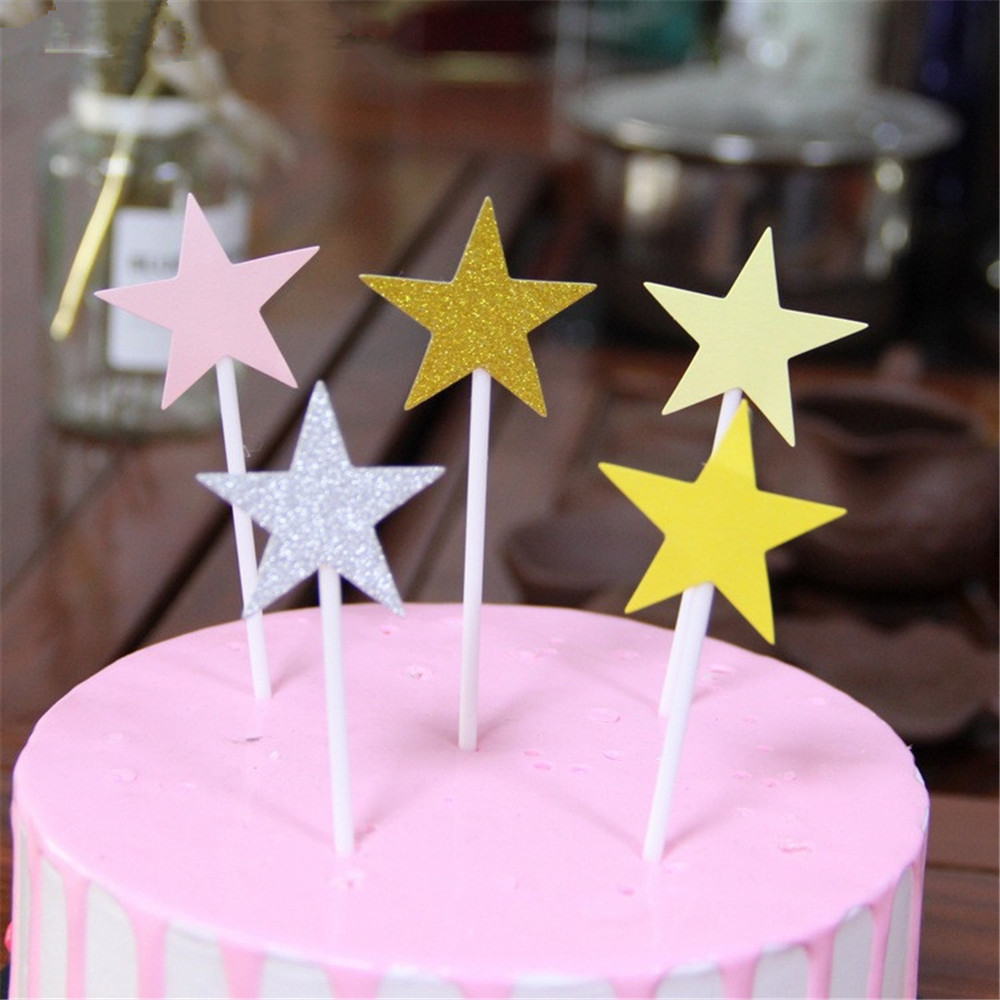CRLEY 100pcs Mix Cake Toppers Star Heart Pink Purple Yellow Handmade Top Quality Party Accessory Decoration Birthday Supplies In Decorating