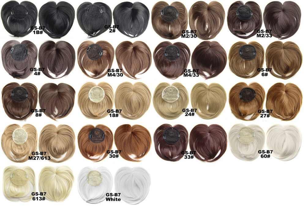 Gres Frauen Gerade Synthetische Haarteile Hohe Temperatur Faser 18 Farben Frauen Clip-in Mittelscheitel Pony