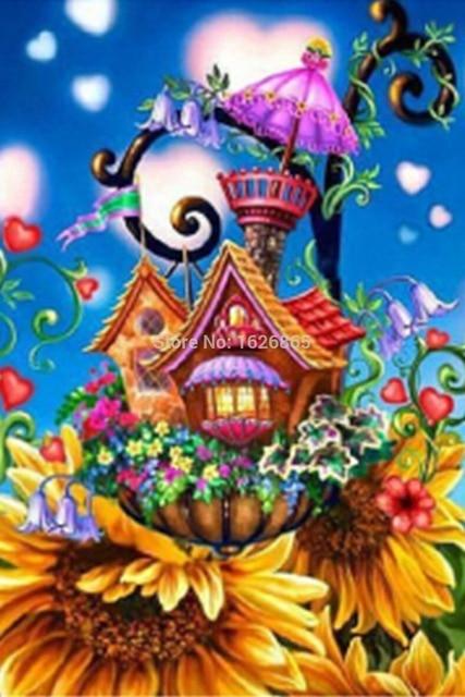 Fieltro Diy 3d Dibujos Animados Castillo Flores Casa Diamante