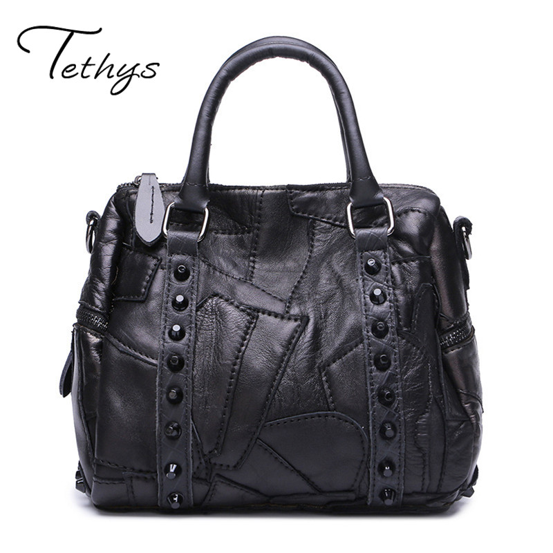 TETHYS 2017 famous brands Women genuine leather handbags Bag Female Sheepskin tote Ladies shoulder messenger bags Sac a main new women genuine leather handbags shoulder bag oil wax cow leather tote bags female vintage handbags sac a main ladies hand bag