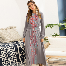 Sexy O-Neck Print Women Dress Long Vintage Lantern Sleeve Female Bohemia 2019 Summer Beach Style Fashion Casual Clothing