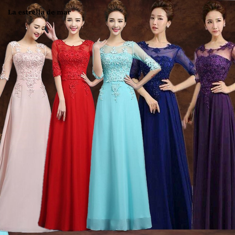 gaun pesta dewasa hot Scoop neck lace chiffon crystal Half sleeve A Line blush pink turquoise purple royal blue   bridesmaid     dress