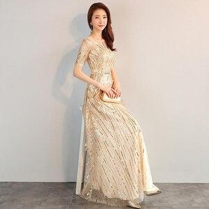 Image 4 - DongCMY ארוך פורמליות מקסי נצנצים ערב שמלות 2020 זהב צבע רוכסן אופנה נשים המפלגה ביצועי שמלה