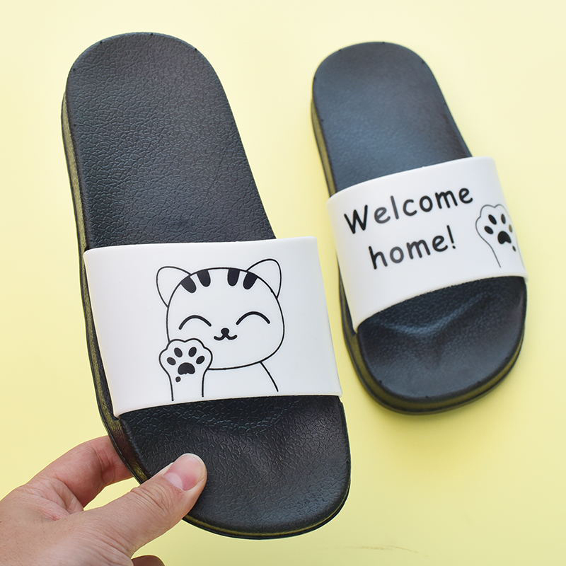 Size 36-45 Women Slippers Summer Comfortable Indoor Shoes Women Sandals Cartoon Lucky Cat Bathroom Bedroom Slipper for Couples men s and women s bathroom slippers summer bathhouse slippers eva hotel slippery wear resisting couples cross belt slipper