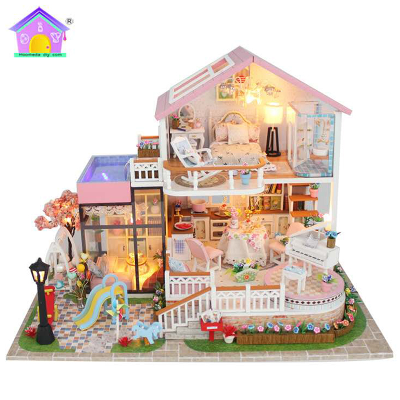 Hongda DIY Doll House Assembly Building Model Toy Houses Sweet Words Light Music Wooden Dollhouse Birthday Gifts Crafts 13846 пледы hongda textile махровое чудо коричневый широкая полоса