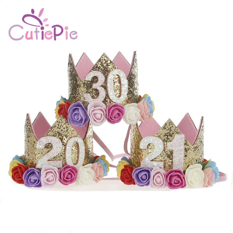 artificial mujer elegante fieltro glitter corona con diadema de flores para la fiesta de cumpleaos de bricolaje adornos de pelo