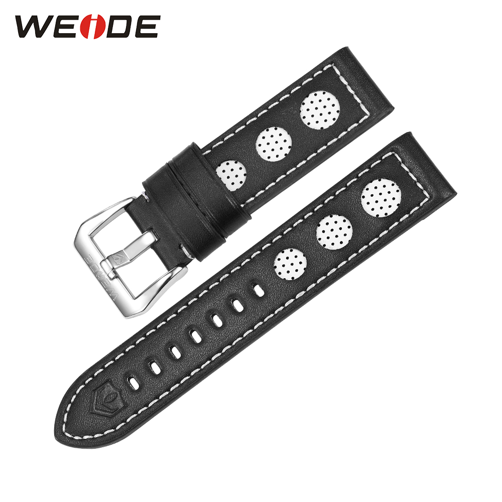 b0d4e0286c3 WEIDE Luxury Watches Genuine Leather Watch Strap For Men Black White Color  21cm Buckle High Quality Watch Connect Bands