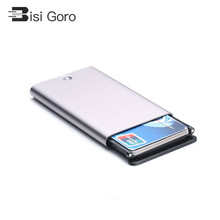 BISI GORO 2019 Women Sliver Gray Short Purse Wallet for Men and Simple New Metal Business Card Holder Creative