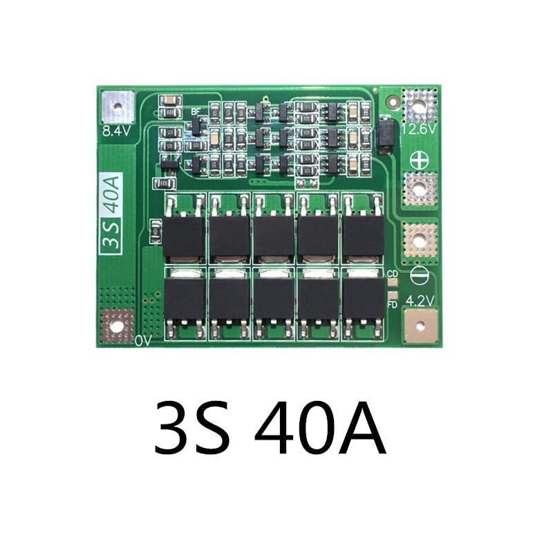 Versão Melhorada de 3 S 40A 11.1 V 12.6 V 18650 Placa de proteção da bateria de lítio para a broca 40A atual