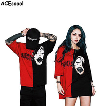 Fashion Summer Men Black Red Color Stitching Devil Grimace T Shirt Men Cotton Loose High Street T-Shirt Woman Hip Hop Top Tee