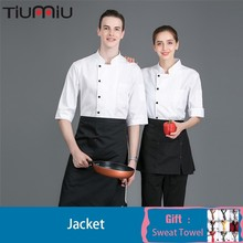 Chef Uniform Seven-quarter Sleeve Wholesale Solid Color Unisex Printing Kitchen Jacket Catering Hotel Barbers Waiter Work Shirt
