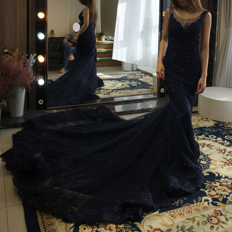 Sexy Backless Navy Blue Mermaid Long   Evening     Dresses   2019 Real Picture Luxury Beaded Lace Dubai Robe De Soiree