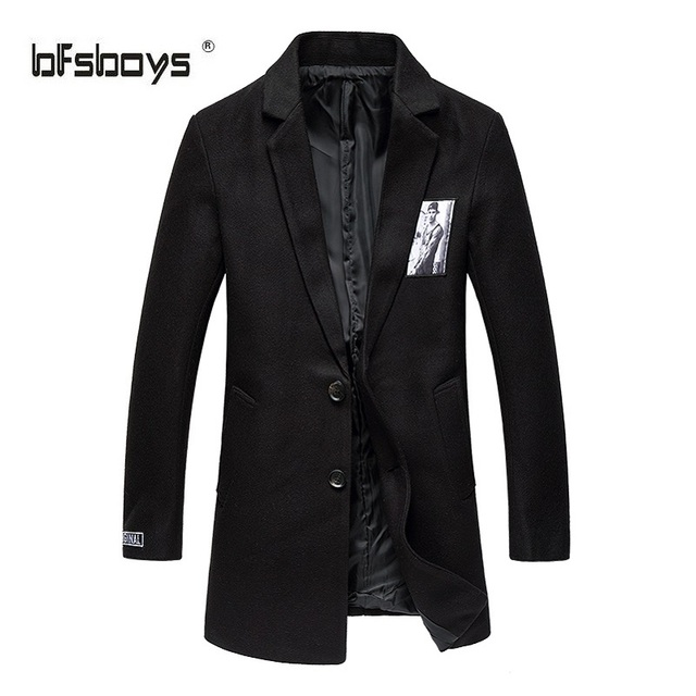 Autumn 2016 new Fashion single-breasted Male  Medium-Long Slim Pure color patch cloth coat  Long Sleeves Trench Coats  F12