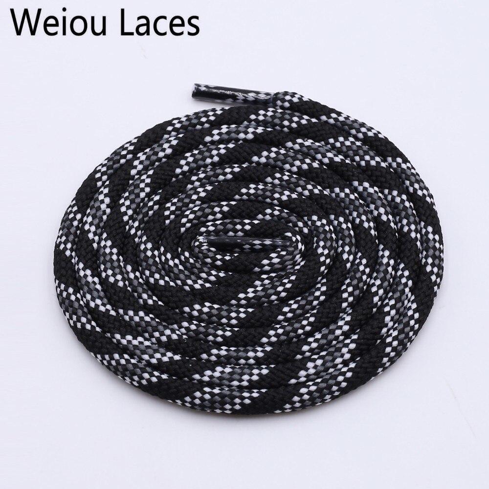 Weiou 6 мм новые шнурки круглый шнурок талии свитер шляпа веревка полиэстер Мода Серый Красный Черный шнурки для обуви кроссовки шнурки - Цвет: 2591Black White Gre
