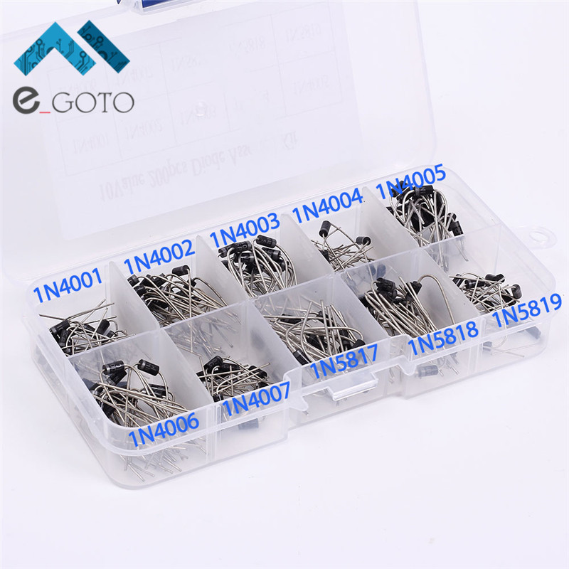 200Pcs 10 Values Rectifier Diode Assorted Kit 1N4001 1N4002 1N4005 1N4006 1N5818 1N5819
