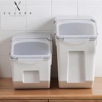 XEJONR Food Storage Boxes Kitchen Rice Barrel Sealed Grain Box Sealed Pest Control Moisture Storage Box Sets Dog Food Cat Food