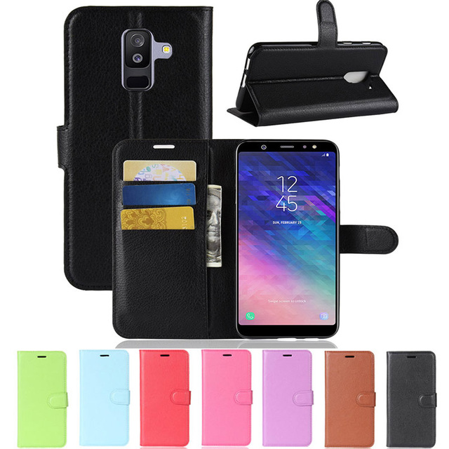 a2f7335ec75 Para Samsung Galaxy A6 2018 A6 Plus 2018 cubierta monedero PU Funda de  cuero para Samsung