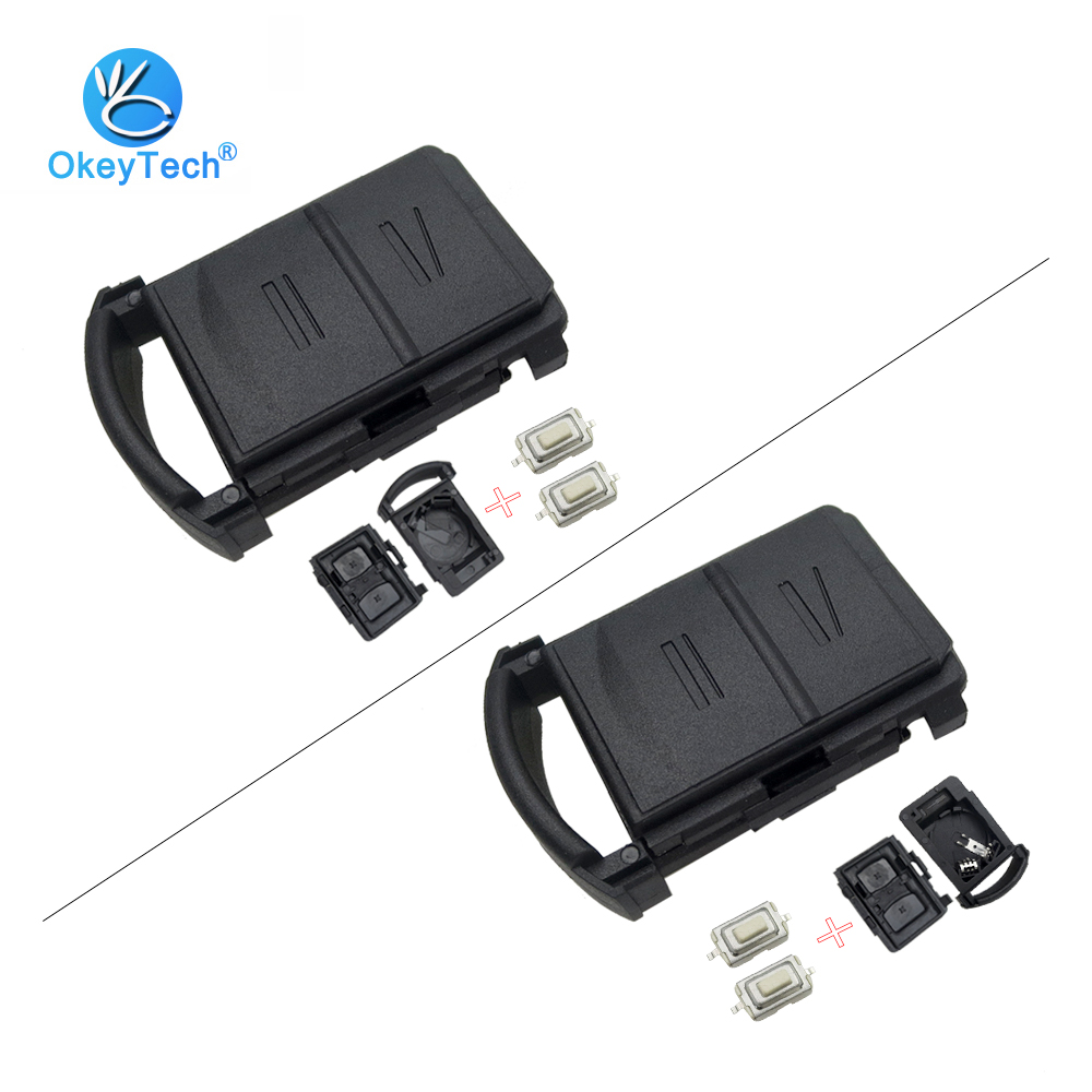 OkeyTech For Vauxhall Corsa Agila Meriva 2 Button Remote Car Key Shell Cover Case Fob & 2 Micro Switch Battery Holder