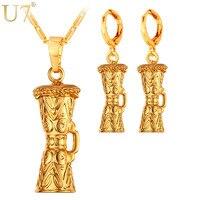 U7 KUNDU Ethnic Earrings And Charm Necklace Set For Women Yellow Gold Plated Wedding Costume Jewelry