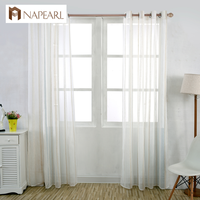 Napearl Striped Linen White Tulle Curtains White Window Yarn