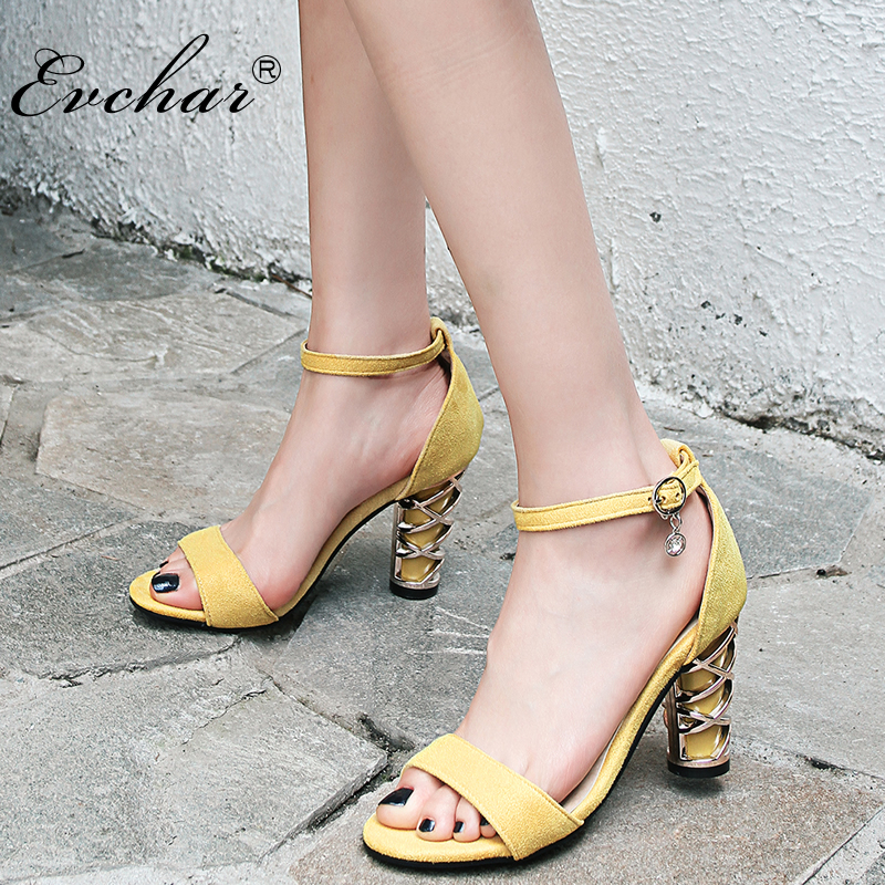 NEw Summer Sandals PU leather Womens High Heels Shoes Woman Party Open Toe High Heel Women Causal Sandals large size 32-48