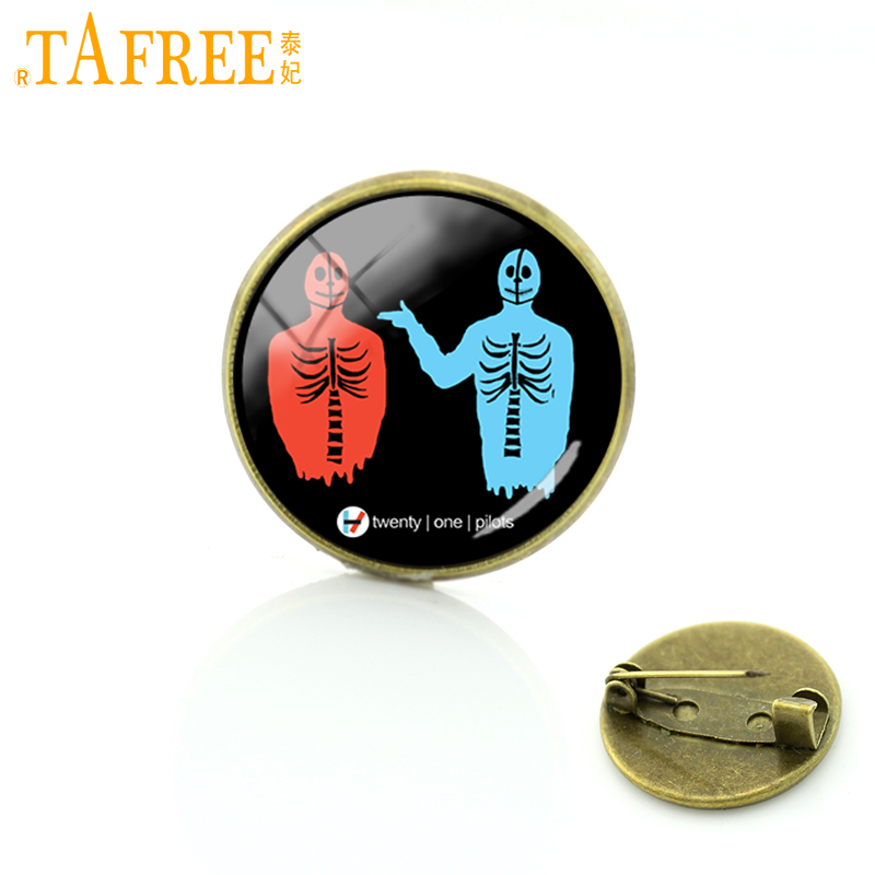 TAFREE Twenty One Pilots Music Band Brooch a special birthday offer to their fans Pins for like Hip-Pop round Glass jewelry H274