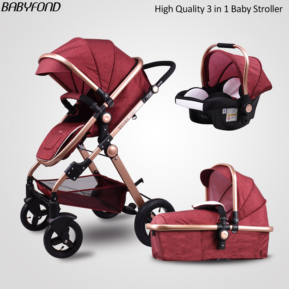 Tax Free! Babyfond Baby stroller high landscape baby cars 3 in 1 stroller with car seat baby car pram CE safety gold baby все цены