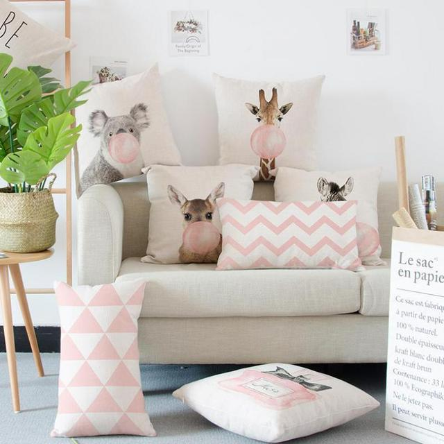 Decoration Pink Cushion @ Pillow Giraffe, Koala, Zebra & Balloon Style