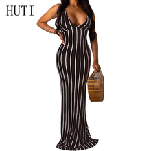 HUTI Plus Size XXL Backless Deep V-neck Maxi Dress Summer Sexy Bodycon Pencil Dress Women Elegant Vintage Striped Slim Dresses