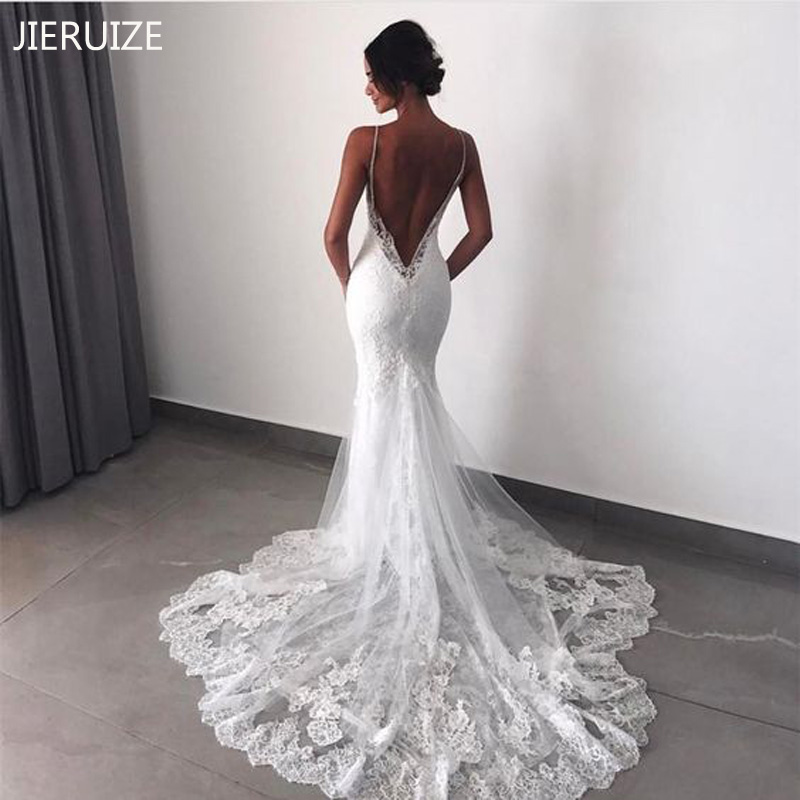 JIERUIZE White Lace Detachable Train Mermaid Wedding Dresses Spaghetti Straps Backless Beach Wedding Gowns Robe De Mariage