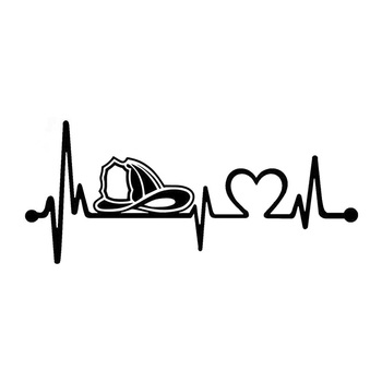 20.3cm*8.9cm Firefighter Fireman Helmet Heartbeat Lifeline Car Sticker Vinyl Black/Silver S3-4980 image