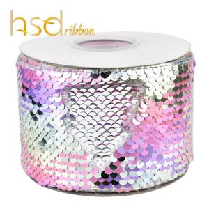 Image 5 - HSDRibbon 3 นิ้ว 75 มม.สีเลื่อมผ้า Reversible Glitter เลื่อมริบบิ้น 25 หลา/ม้วน