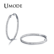 UMODE CZ White Gold Color Hoop Earrings for Women Tiny Paved Crystal Pendientes Mujer Moda 2018 New Fashion Bijoux AUE0357