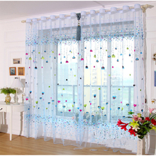 hot deal buy tulle curtains for kitchen curtains for living room fabric voile window bedroom children's cartoon printed balcony sun shading