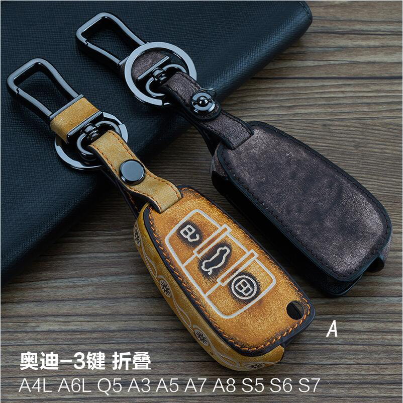 Leather Car Key Fob Case Cover Wallet For Audi A3 A4 A6 A8