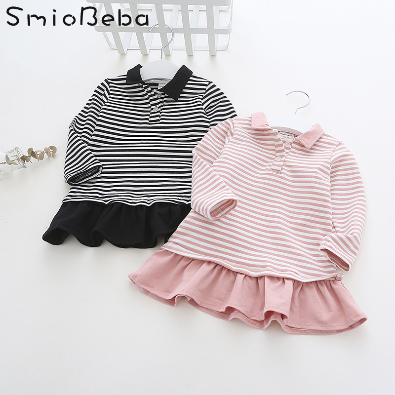 Wholesale Childrens Dresses for Girls Little Kids Striped Pink Dress Ruffles Long Sleeve Turn Down Collar Kids Girls Dresses