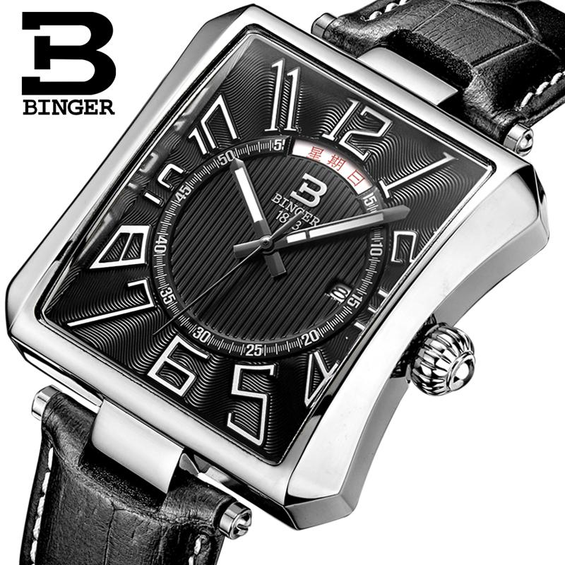 Switzerland BINGER Men s Watch Luxury Brand Tonneau Quartz Clock Waterproof leather strap Male Wristwatches B3038