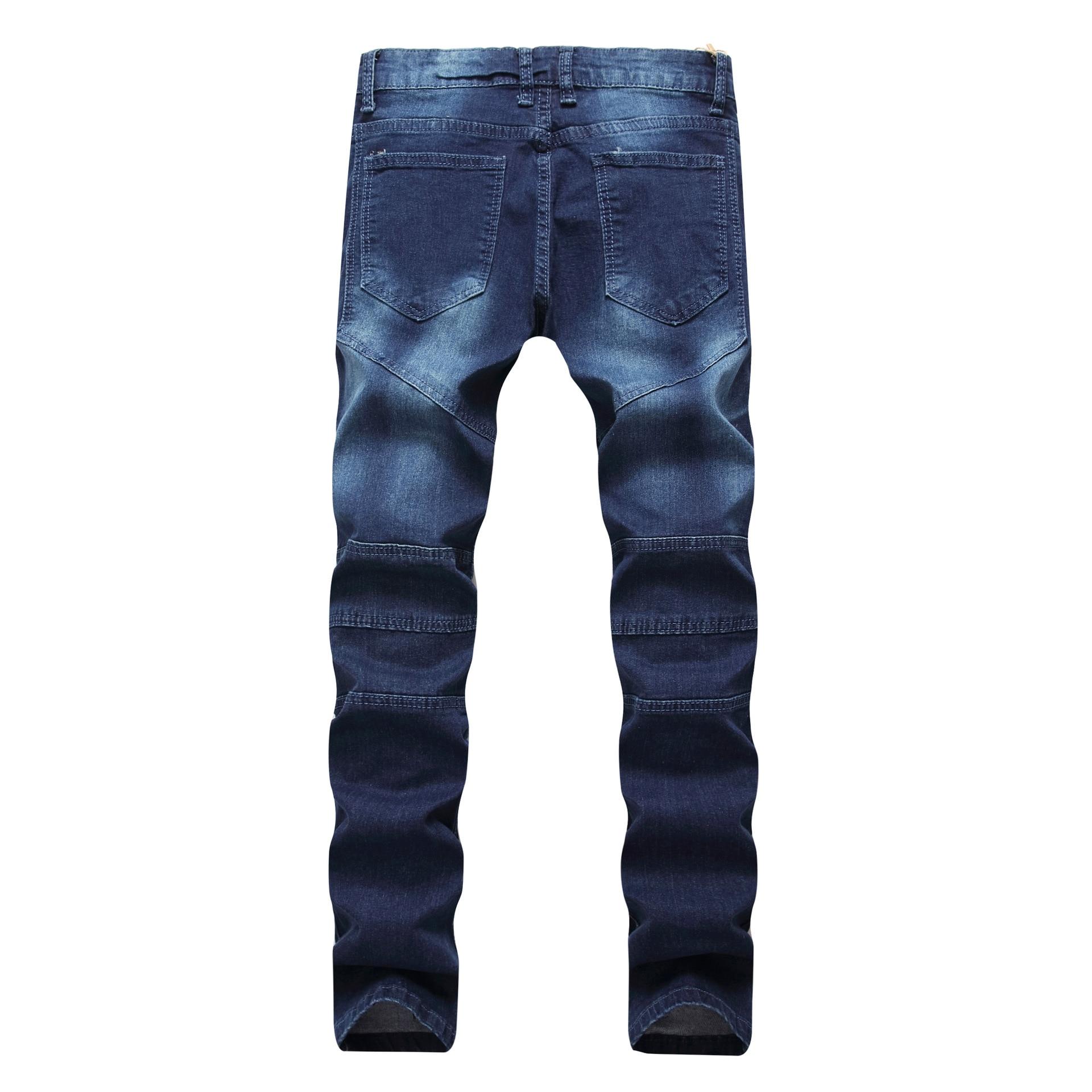 Hi Street hommes déchiré Rider Biker Jeans moto Slim Fit lavé noir gris bleu Denim pantalon Joggers Skinny hommes