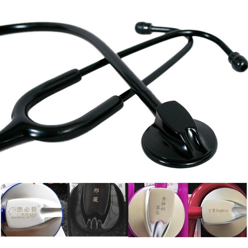 Single Head Medical Professional Cardiology Estetoscopio All Black Blood Pressure Stethoscope With Laser Engraving
