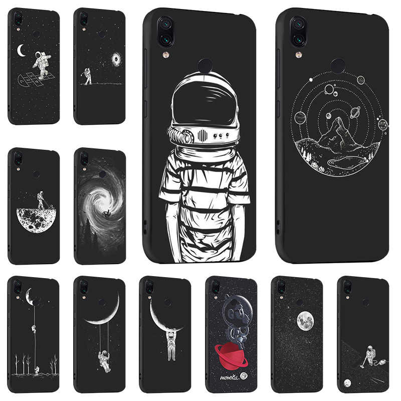 Space Moon Astronaut Case For Xiaomi Redmi Note 7 5 Pro 5A Redmi 7 S2 Cases 3D DIY Painted Black Cover for Xiaomi Mi 9 SE A1 A2